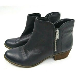 Lucky Brand ankle Zip Booties Leather Black 7.5